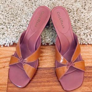 Tan and pink Cole Haan kitten heels